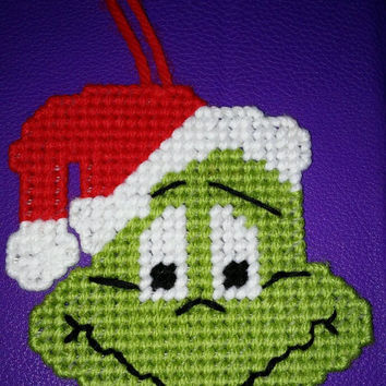 The Grinch Ornament, Tree Ornament, The Grinch Who Stole Christmas, Gifts for Kids, Holiday Decor, Plastic Canvas, Stocking Stuffer, Favor