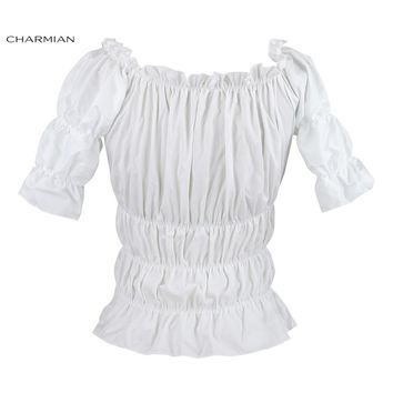 Charmian Off Shoulder Top Vintage Gothic Victorian Blouse Lolita Elastic White Top Steampunk Plus Size Women Clothing