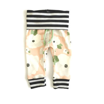 Yoga Sweats Organic Peachy Floral Baby Girl and Toddler Sweatpants
