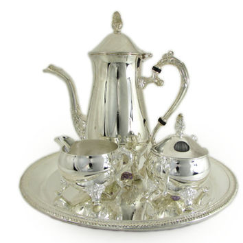 International Silver Co Silver Plated Coffee Set Embossed Shell Etched Round Gadroon Tray Pot Creamer Lidded Sugar Bowl