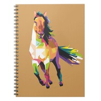 Colorful Running Horse Stallion Equestrian Notebook