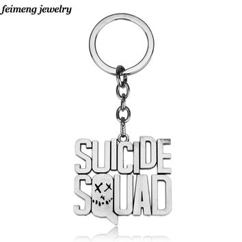 Movies Hero Suicide Squad Keychain Letter Logo Metal Pendant Chaveiro For Unisex Best Keyring 3 Colors