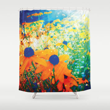 Flowers in the Sun Shower Curtain by NisseDesigns