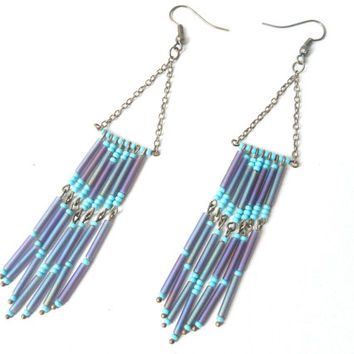 Purple tie and dye Fringed earrings ( hippie, indian, native, beaded, rug, totem, french, wild, wolf, sioux ) 02