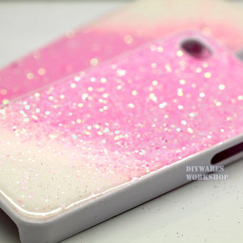 Glitter Iphone 5 case 5s case 4 4s 5c Case cover, Pink Purple Glitter Glittery Sparkly bling case cover Real glitter. WHite Glitter resin