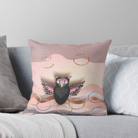 'PINK OWL 169 SURPRISE.' Throw Pillow by sana90
