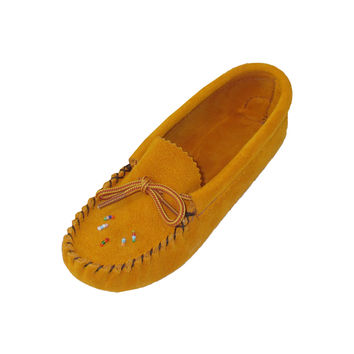 Children's Soft-Sole Suede Moccasins with Beading
