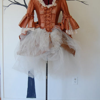 Striped silk marie Antoinette night circus Victorian inspired rococo costume top and tulle skirt