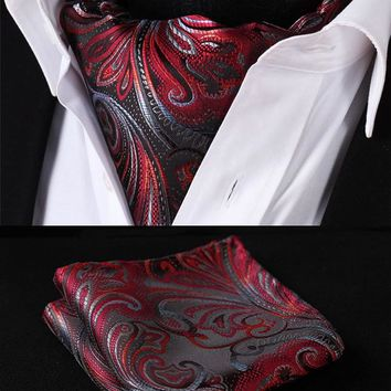 Red Floral Silk Ascot Tie Pocket Square