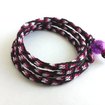 Kumihimo Wrap Friendship Bracelet - Maroon, Purple and black square Pattern
