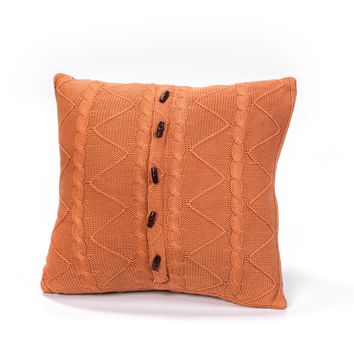 PUMPKIN CABLE AND TWIST KNIT PILLOW