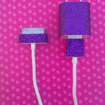 Purple Glitter iPhone Charger