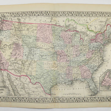 Antique Map of United States Map USA Vintage Map 1871 Mitchell Map, Unique Gift for Parents, Historical Map, Man Cave Decor Gift for Him