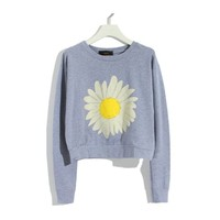 Sunflower Print Casual Sweatshirt for Girls