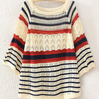 Stripe Open Crochet Knit Sweater