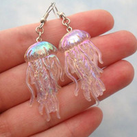 iridescent clear jellyfish dangle earrings
