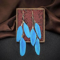 Shades of Color Feather Earrings