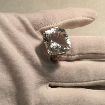Vintage Genuine Clear Quartz 925 Sterling Silver Tall Size 9 Ring