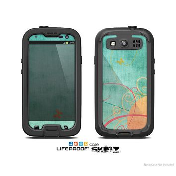 The Vintage Green Grunge Texture with Orange Skin For The Samsung Galaxy S3 LifeProof Case