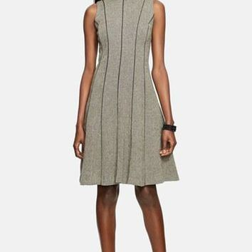 Women's Lauren Ralph Lauren Faux?Leather Trim A-Line Dress,