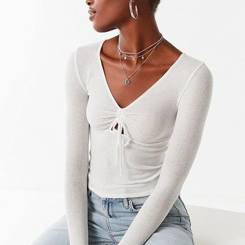 Out From Under Darcie Ruched Long Sleeve Top | Urban Outfitters