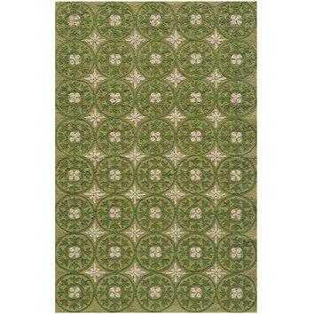 Seneca Green Medallion Outdoor Rug