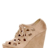 Soda Resist Light Taupe Cutout Lace-Up Platform Wedges