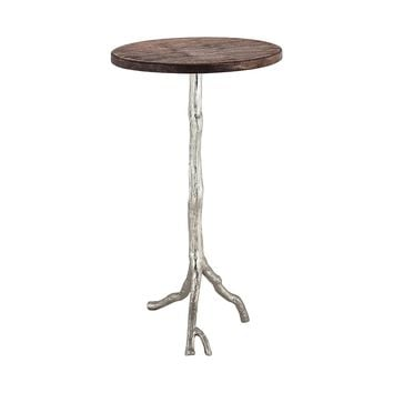 Wood And Nickle Side Table