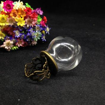 3sets/lot 30*20mm round ball Glass Bubble vial glass globe dome cover flower ring set DIY vial ring pendant glass bubble gifts
