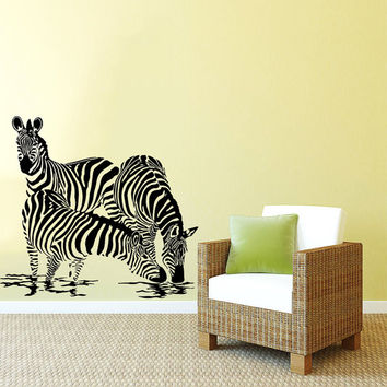 Wall Decal Vinyl Sticker Decals Art Home Decor Design Mural Zebra Animals Jungle Safari African Kids Children Nursery Baby Bathroom AN105
