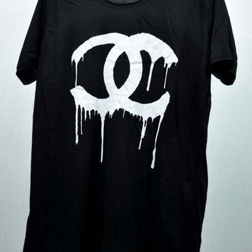 CHANEL Dripping COCO CHANEL Black T Shirts Tank Top Tunic  women handmade silk screen printing Size M L