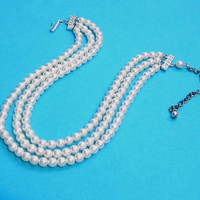 Vintage Pearl Bead Necklace, Rhinestone Clasp