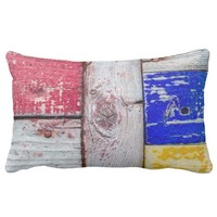 Funny Neoplasticism wooden art style Lumbar Pillow