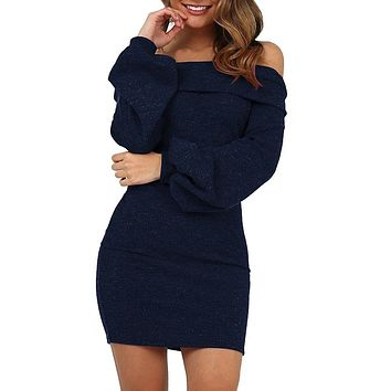 Women Dress Fashion Solid Full Sleeve Cold Off Shoulder Evening Party Dresses With Belt Women Sexy Dress