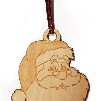 Santa Claus Laser Engraved Wooden Christmas Tree Ornament Gift Seasonal Decoration