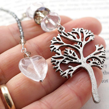 Tree of Life Bookmark, Neutral Gray Beaded Bookmark, Clear Heart Charm, Swarovski Crystal, Lampwork Glass, Gift for her