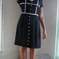 80s Dress m l - navy blue white piping buttons collar - mod sailor waitress pinup military uniform - party picnic sweetheart - med large