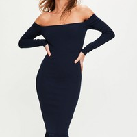 Missguided - Navy Bardot Fishtail Hem Dress