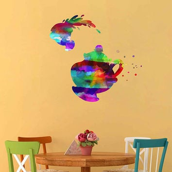 kcik2164 Full Color Wall decal Watercolor Character Disney Kettle cup Belle Beauty and the Beast children's room Sticker Disney