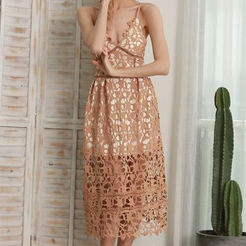 Hollowed-out Lace Dress