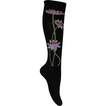 Lotus Flower Knee High Socks in Black
