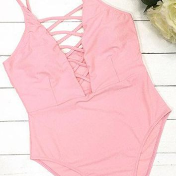 Cupshe Haven Lace Up One Piece Swimsuit