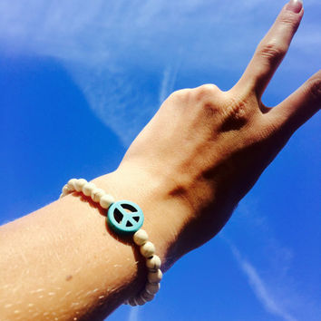 Peace Sign Bracelet Stretchy Beaded Boho Bracelet Hippie Arm Candy Elastic Beaded Bracelet Turquoise Peace Bracelet Bead Wrist Candy