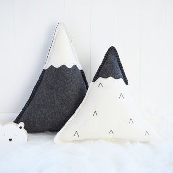 Snowy Mountains wool felt cushion