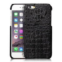 iPhone 6 Plus Case, [Alligator Pattern] [Unique Style] Top Layer Cowhide Leather & PC Case Cover [Gorgeous Design] for Apple iPhone 6 Plus 5.5 inch (Black)