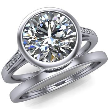 Camilla Round Moissanite Bezel Set Diamond Halo with Cathedral U Shaped Gallery Ring