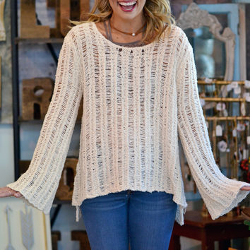 Bell Sleeve Sweater in Ivory