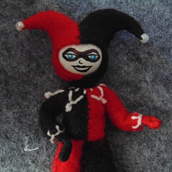 Harley Quinn Miniature Art Doll Fan Art Jester Clown Red and Black DC Comics Cosplay Art
