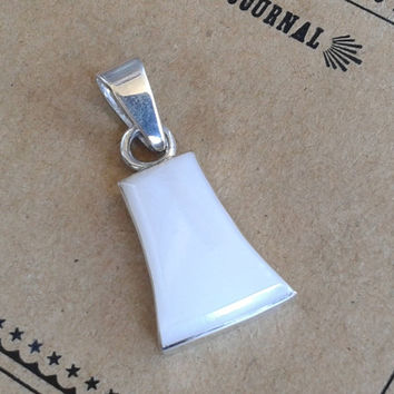 Vintage Early 90's .925 Sterling Silver and Mother of Pearl Pendant // 1.5 inches