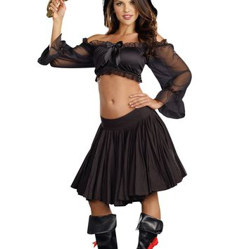 Peasant Top Costume Starter (Small/Medium,Black)